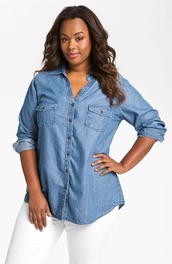 The curvy fashionista show me style me the art of chambray for Plus size chambray shirt