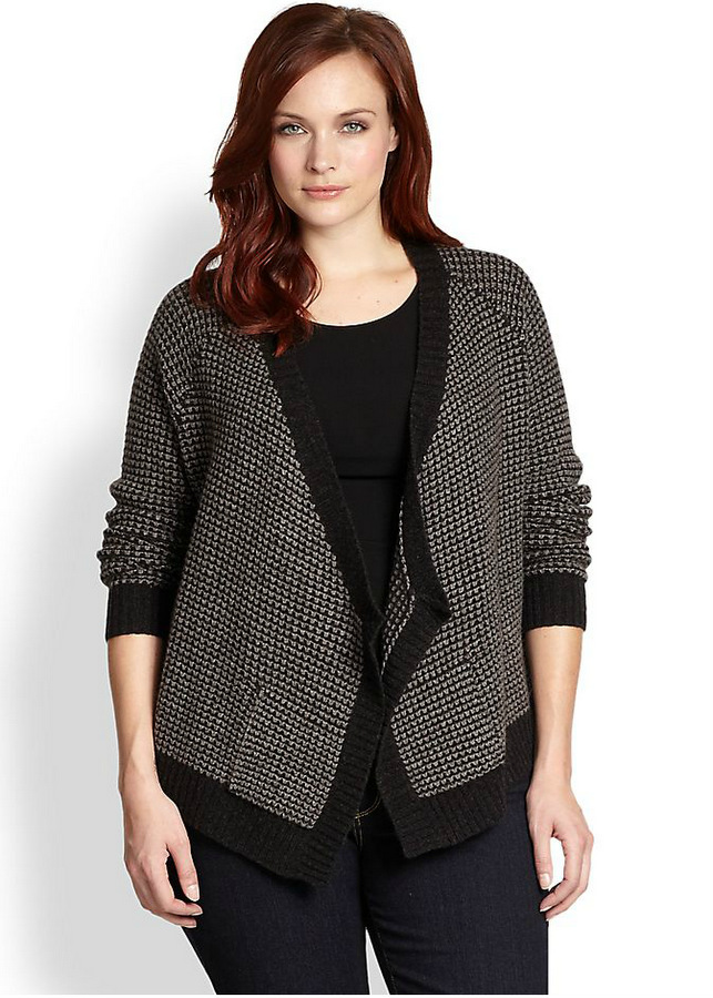 Eileen Fisher Drape-Front Cardigan-Plus Size Cardigans on The Curvy Fashionista