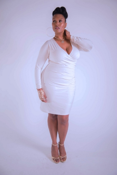 Plus Size Designer Shanda Freeman  mock-wrap-dress