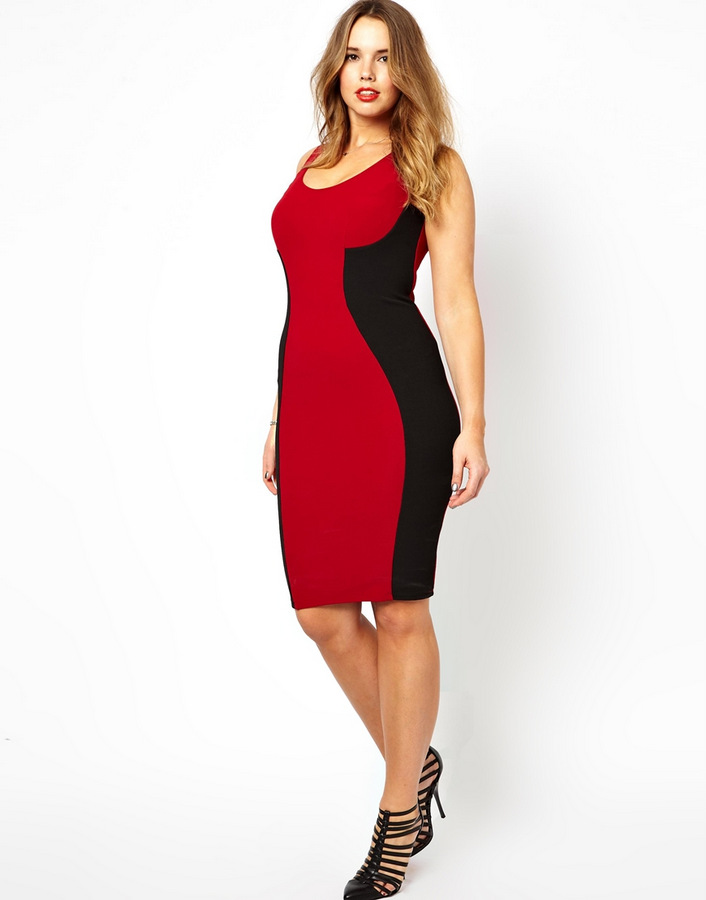 ASOS CURVE 90s Ribbed Body-Conscious Dress