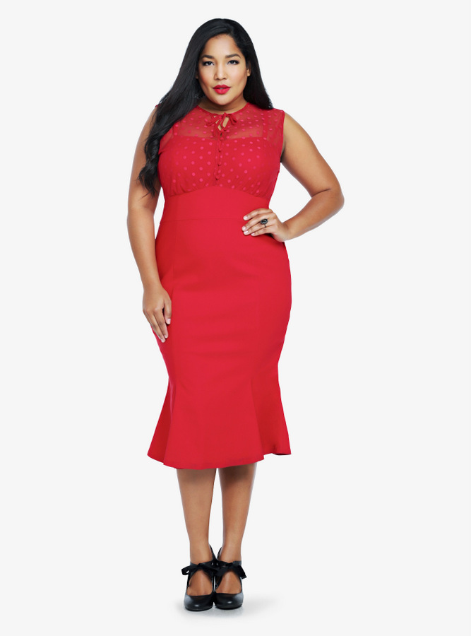 Torrid Retro Chic Dotted Mesh Dress