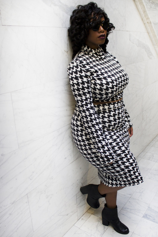 Plus size designer- Zelie for She forever-young-houndstooth