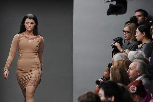 Crystal Renn on the catwalk for Mark Fast