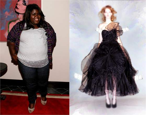 Gabby Sidibe and Marchesa-Vogue Curvy