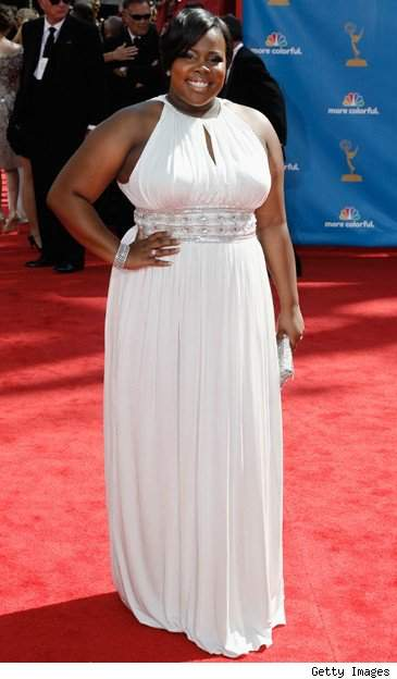 Amber Riley is a Grecian goddess at the 2010 Emmy's