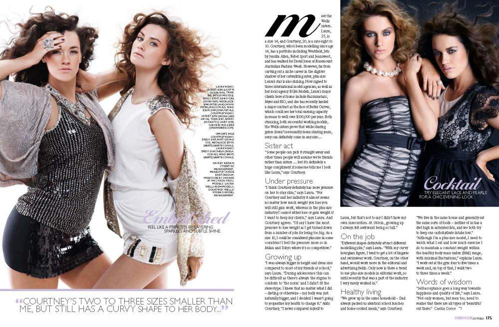 Plus Model Laura Wells and her sister in AU September Cosmopolitan Mag