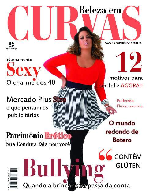 Fluvia Lacerda on the cover of plus size magazine, Beleza Em Curvas