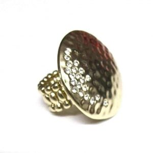 Rich Rocks Hammered ring with Pave stones