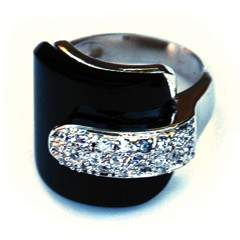 Rich Rocks White Gold Ring with onyx and pave detail