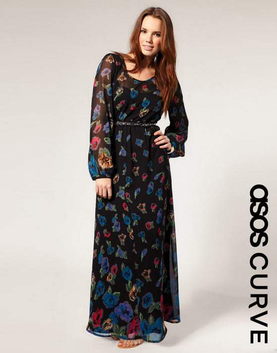 Asos Curve Long Sleeve Maxi