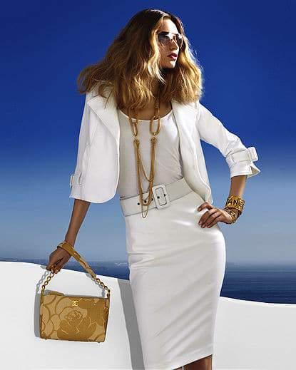 White Ponte Skirt and Ponte Crop Jacket from Spiegel