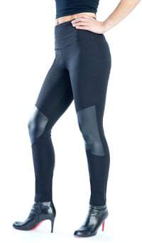 Lisse Leggings Stretch Knit Pleather Knee