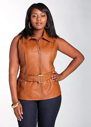 Ashley Stewart Belted Leather Vest