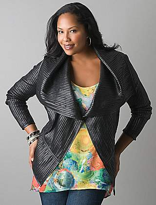 Lane Bryant Pieced Leather Moto Jacket