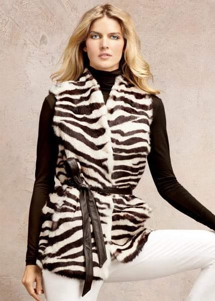 Plus Size Fall 2011 Trends Spotlight Animal Prints: Lafayette 148 Rabbit Fur Zebra Vest