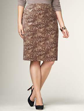 Plus Size Fall 2011 Trends Spotlight Animal Prints: Talbots Leopard Velveteen Skirt