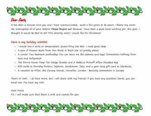 My Dear Santa Letter