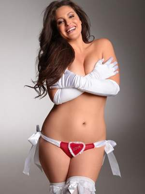 Plus Size Lingerie for Valentines Day: Hips and Curves Love thong with Rhinestones