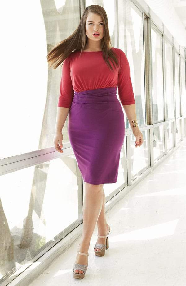 Adrianna Papell Plus Size Colorblock Dress at Nordstrom