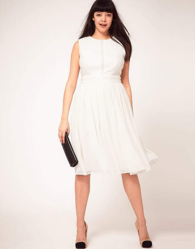 ASOS CURVE Dress with Chiffon Midi Skirt and Zip Back