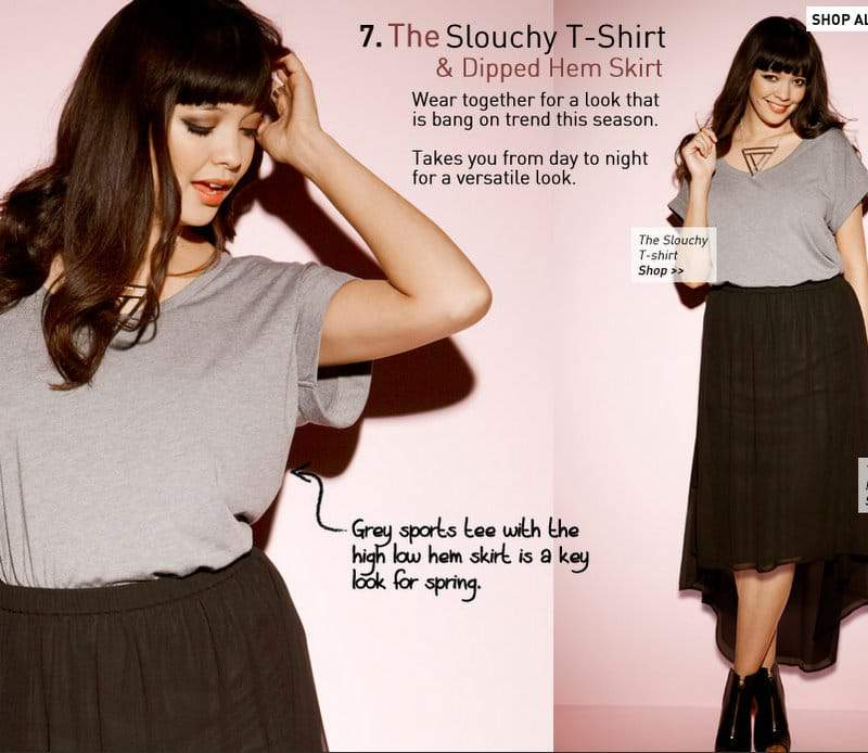 Simply Be Slouch Tee and Dipped Hem Skirt