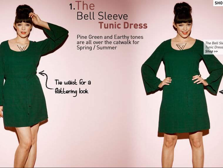 Simply Be Bell Sleeve Tunic Dress