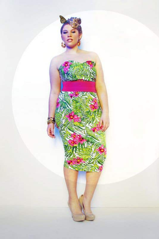 JIBRI Plus Size Tropical Print Pencil Dress