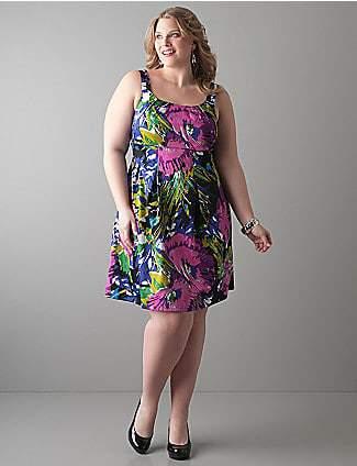 Lane Bryant Floral Sateen Dress
