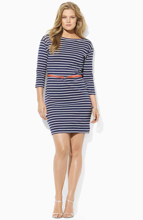 Lauren by Ralph Lauren Plus Size Striped Dress at Nordstrom