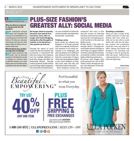 Media Planet Curvy Evolution USA Today Insert: Article by Marie Denee