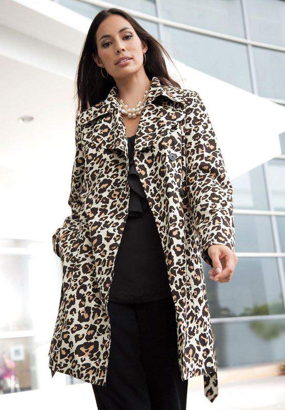 Jessica London Plus Size Animal Print Trench