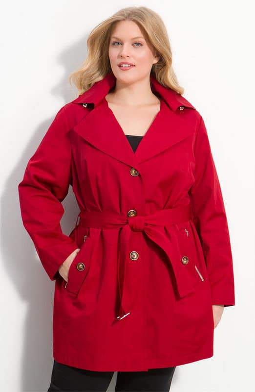 MICHAEL Michael Kors Plus Size Trench with Detachable Hood