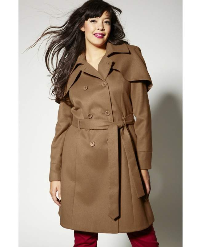 Simply Be Plus Size Double Breasted Caplet Trench