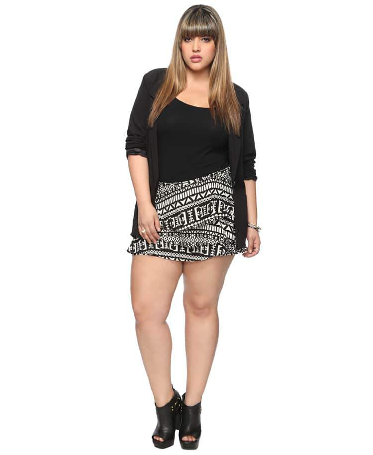 Forever 21 Plus Size Flounced Geo Shorts