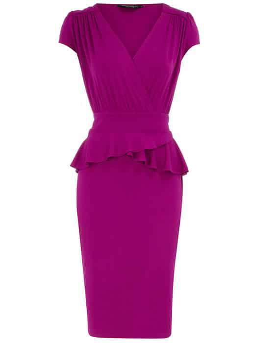 Dorothy Perkins Raspberry Peplum dress