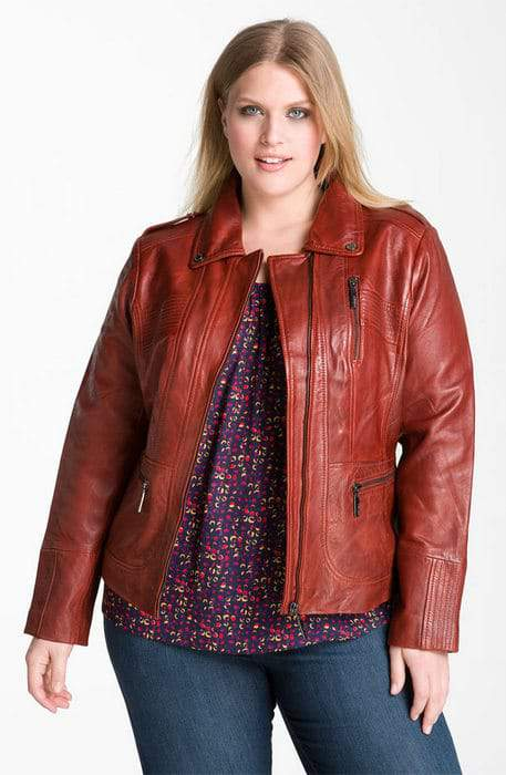 Nordstrom Anniversary Sale- Encore Plus Sizes: Bernardo Scuba Leather Jacket