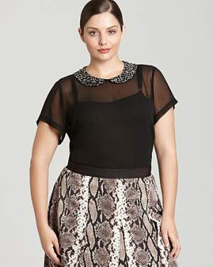Vince Camuto Sheer blouse with Peter Pan Sequin Collar