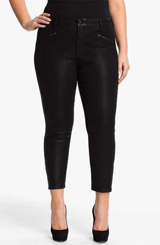 NYDJ Plus Size Coated Ankle Zip Pants