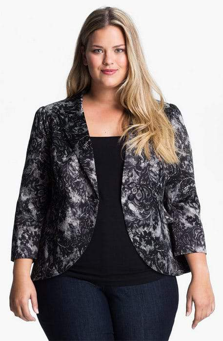 Bellatrix Plus SIze Lace Print Blazer