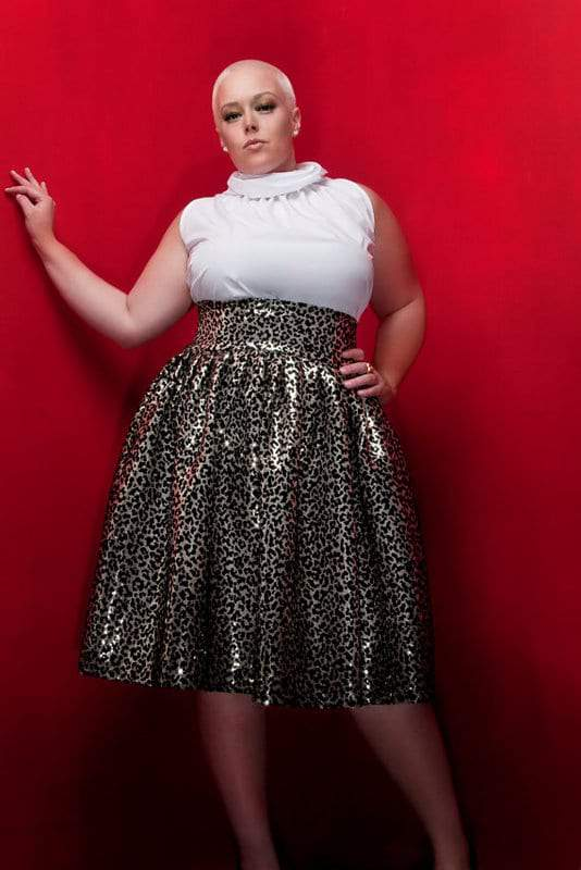 JIBRI Plus Size High Waist Flare Skirt (Leopard Sequin)