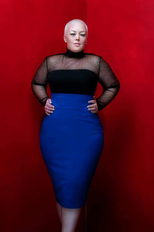 JIBRI Plus Size High Waist Pencil Skirt (Royal Blue)