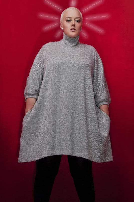 JIBRI Plus Size Oversized Metallic Knit Sweater