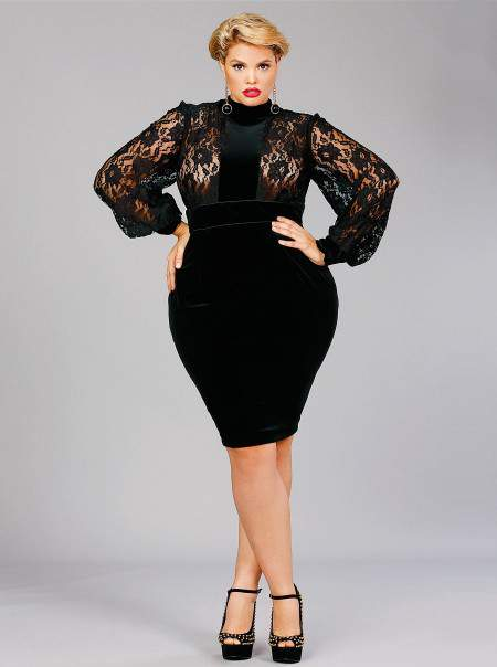 "Monf C Plus SIzes ""AMELIA"" LACE PANEL VELVET DRESS-BLACK"