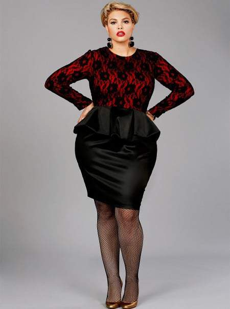 "Monif C. Plus sizes ISABEL"" LACE PEPLUM DRESS-BLACK/RED"