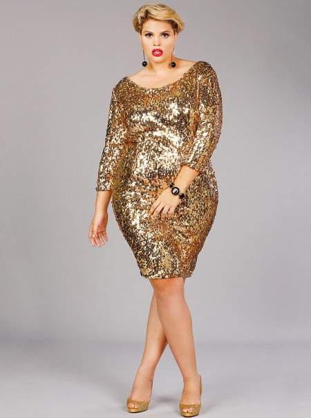 "Monif C Plus Sizes JOSEPHINE"" SEQUINS PARTY DRESS - GOLD"