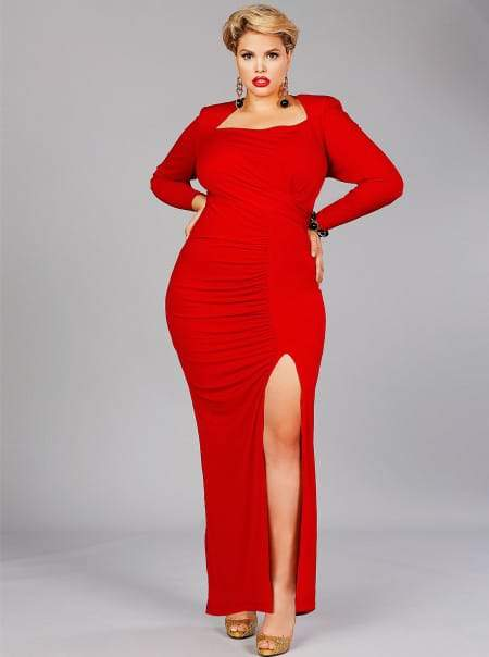 "Monif C Plus Sizes CÉLINE"" HIGH SHOULDER JERSEY RUCHED GOWN in Red"