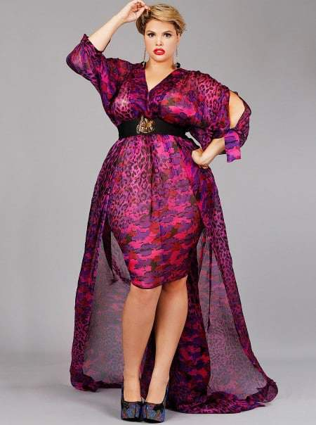 "Monif C Plus Sizes ""SOPHIA"" PRINTED CHIFFON FANTASY GOWN-PURPLE MULTI"