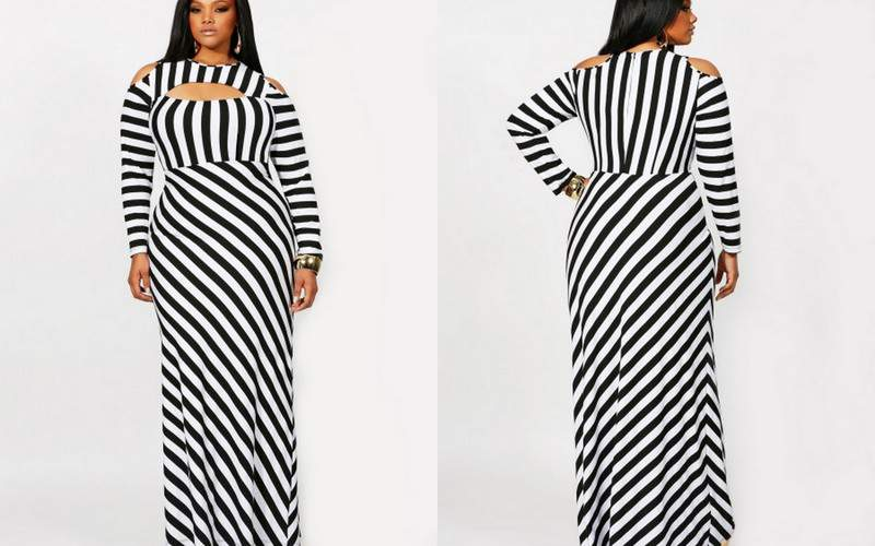 Monif C Plus Sizes: Lourdes Stripe Maxi Cold Shoulder Dress