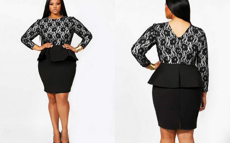 Monif C Plus Sizes: Isabel lace Peplum Dress
