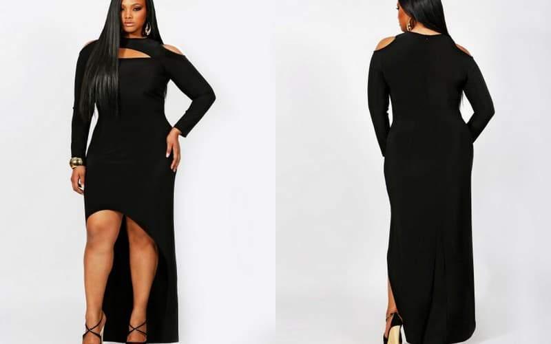 Monif C Plus Sizes: Dana Cold Shoulder High Low Dress